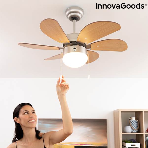 Ceiling Fan with Light InnovaGoods Ø 75 cm 55W