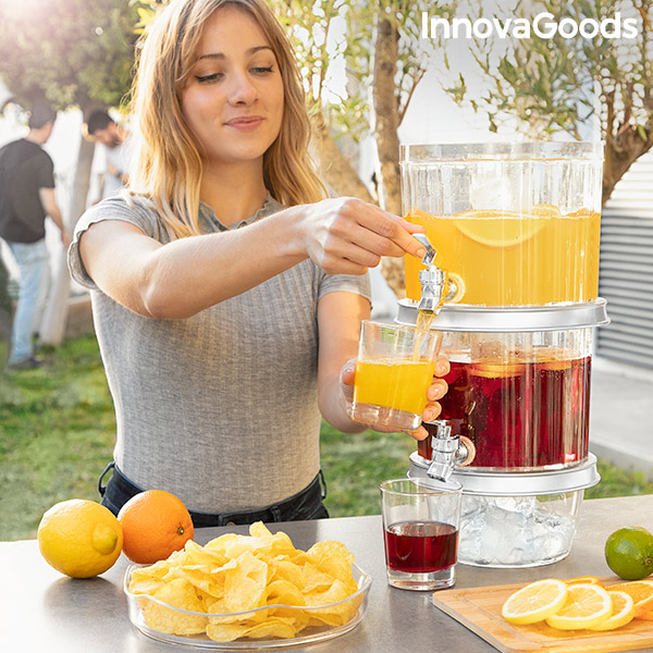 Double Drinks Dispenser with Ice Compartments and Snack Tray TwinTap InnovaGoods