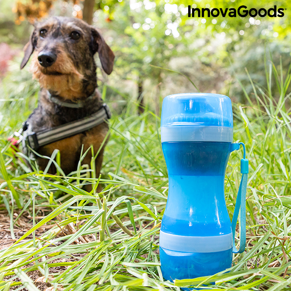 2-in-1 bottle with water and food containers for pets Pettap InnovaGoods