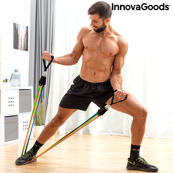 Set of Resistance Bands with Accessories and Exercise Guide Rebainer InnovaGoods