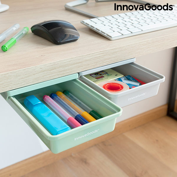 Set of Additional Adhesive Desk Drawers Underalk InnovaGoods Pack of 2 units