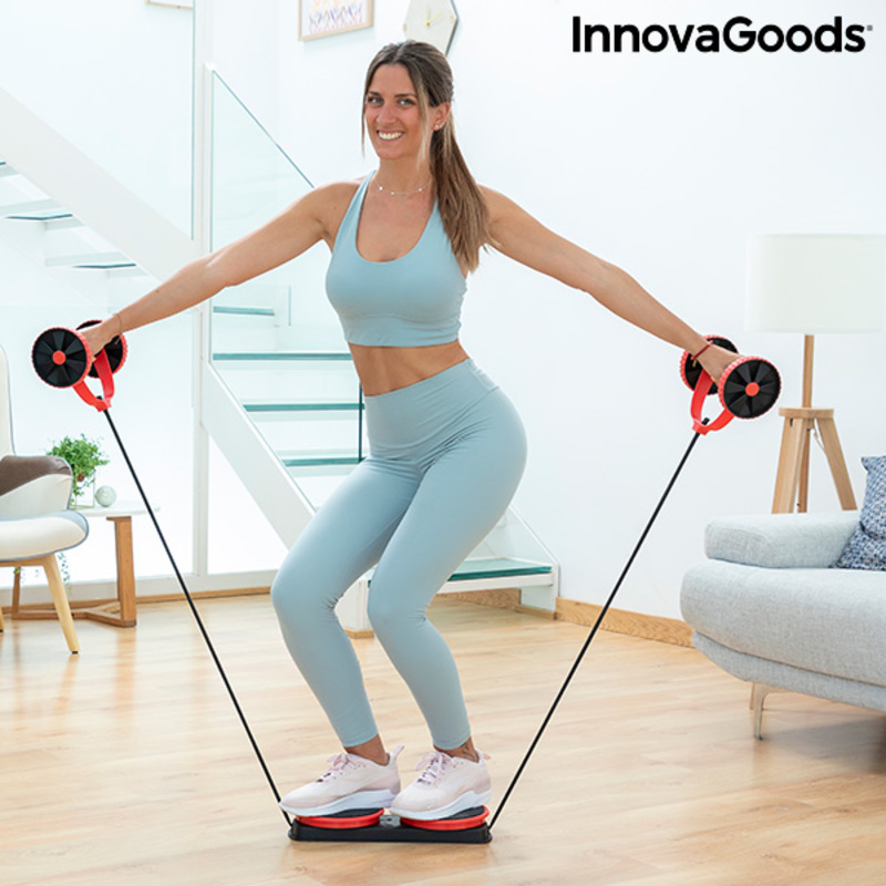 Abdominal Roller with Rotating Discs, Elastic Bands and Exercise Guide Twabanarm InnovaGoods