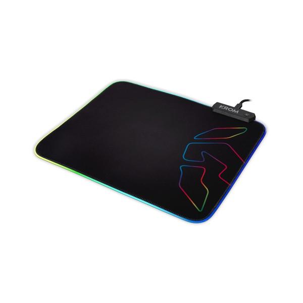 Gaming Mat with LED Illumination Krom Knout RGB (32 x 27 x 0,3 cm) Black