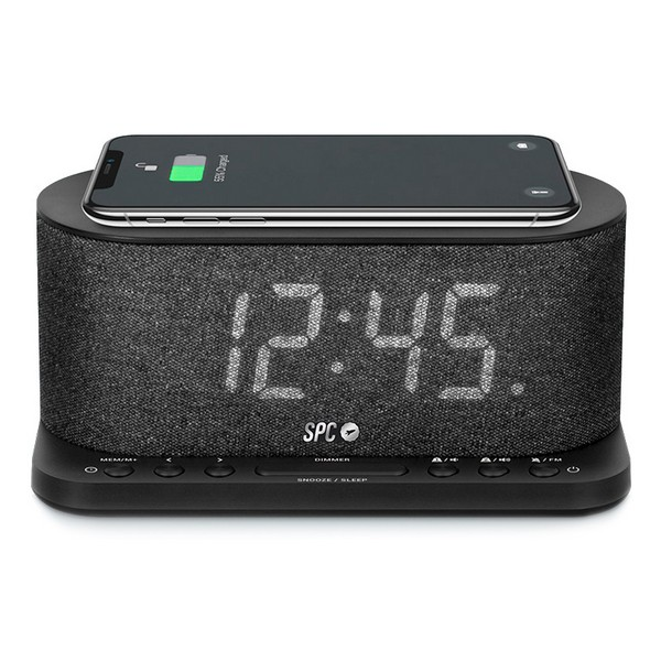 "Radio Despertador con Cargador Inalámbrico SPC 4582N 4,3"" LED USB Negro"