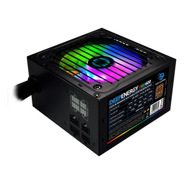 Fuente de Alimentación Gaming CoolBox DG-PWS600-MRBZ RGB 600W Negro