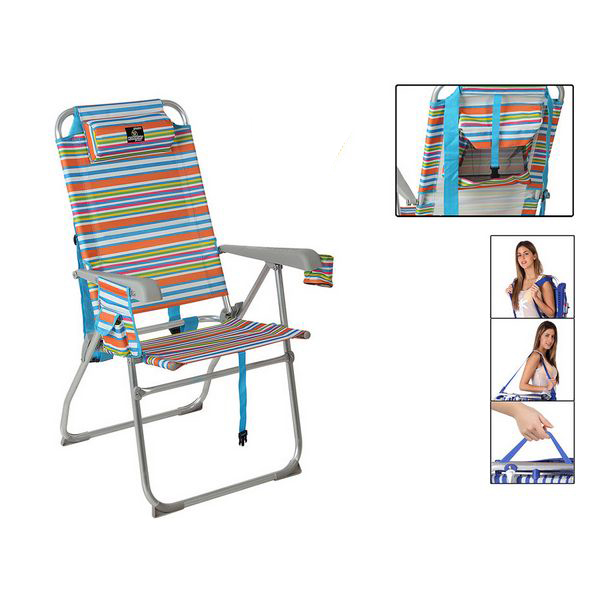 Armchair 117922 Foldable Aluminium Multicolour (65 X 60 x 47/108 cm)