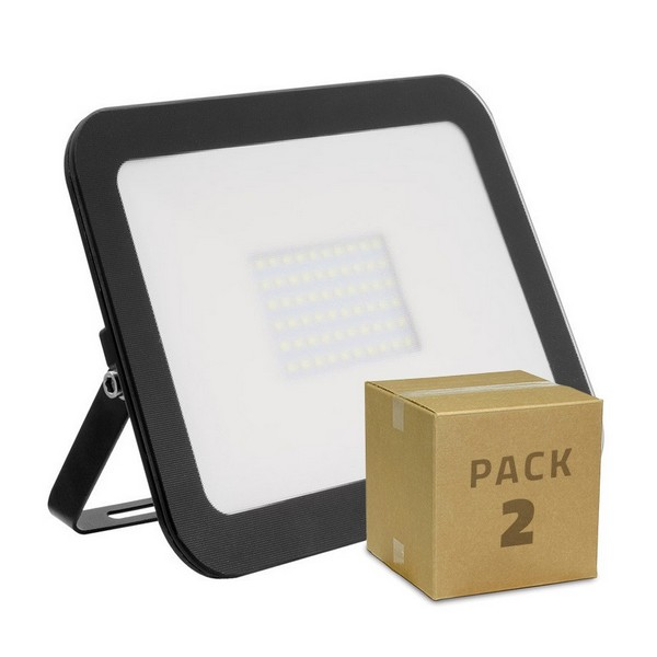 Floodlight/Projector Light Ledkia Slim Cristal Black 100 W 10000 Lm (6000K Cool White) (2 uds)