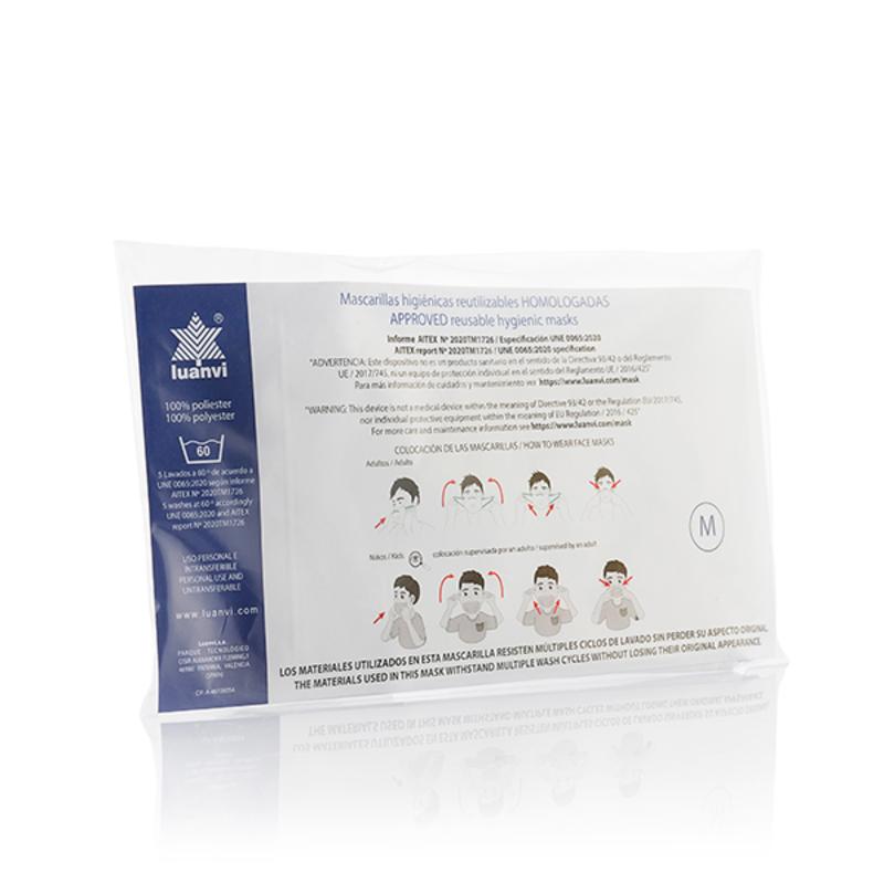 Mascarilla Higiénica de Tela Reutilizable Beard Luanvi Talla M (Pack de 3) (2)
