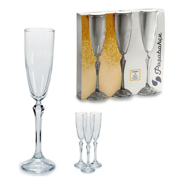 Copa de champán Vidrio 3 (3 Piezas) (6,5 x 25 x 25,5 cm)