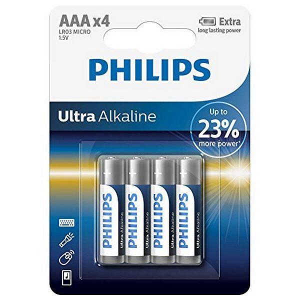 Alkaline Batteries Philips LR03 AAA LR03 (4 pcs)