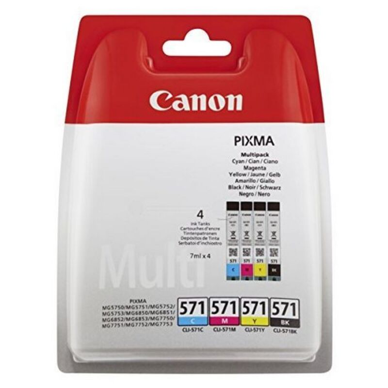 Ink and Photogrpahic Paper pack Canon CLI-571 MG5750 Cyan Magenta Black Yellow