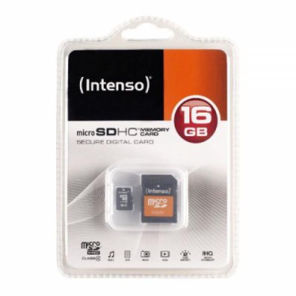 Tarjeta de Memoria Micro SD con Adaptador INTENSO 3413470 16 GB Clase 10 (1)