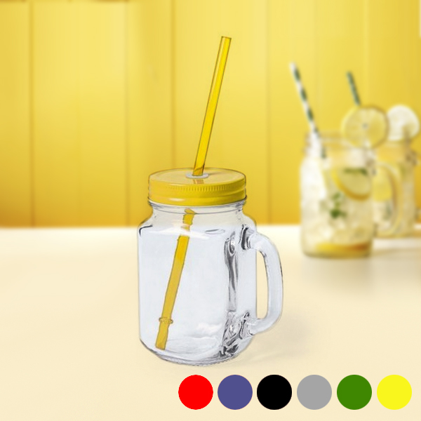 Jar with Lid and Straw (500 ml) 145494