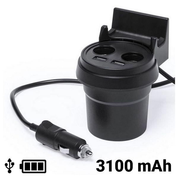 Cargador USB para Coche con Soporte para Móvil 3100 mAh 145534