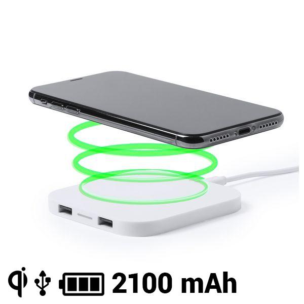 Caricabatterie Senza Fili Smartphone Qi 2100 mAh USB 145764