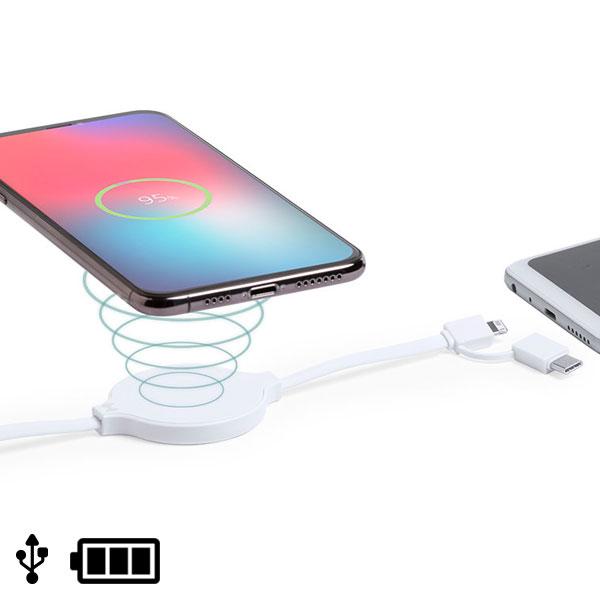 Cable USB con Cargador Inalámbrico, USB-C y Lightning Blanco 146259