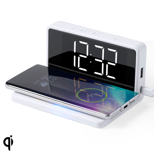 Alarm Clock with Wireless Charger White 146512