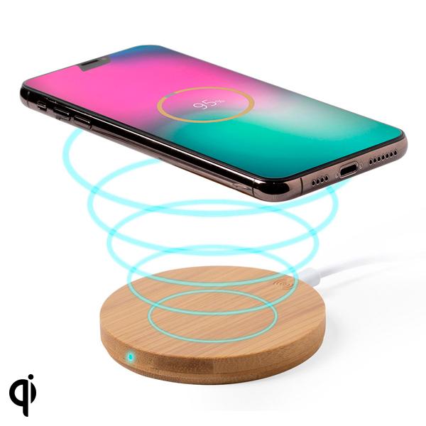 Cargador Inalámbrico para Smartphones Qi 146522 (0,9 x Ø 9,1 cm) Bambú