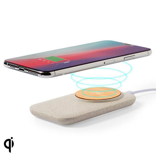 Cargador Inalámbrico Qi con Puertos USB 146536 Bambú Caña de trigo Abs