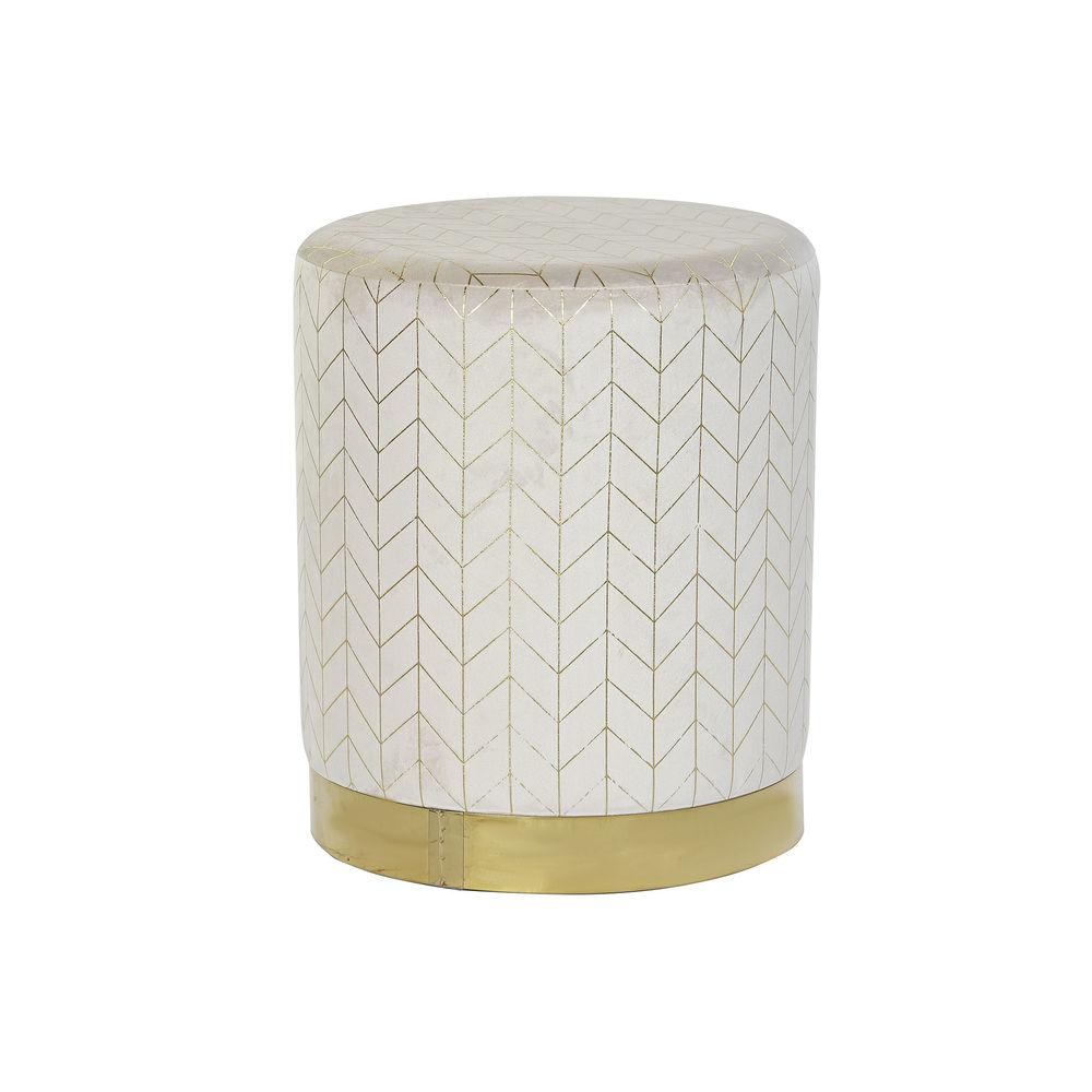 Footrest DKD Home Decor Beige Polyester Metal Golden (36 x 36 x 43 cm)