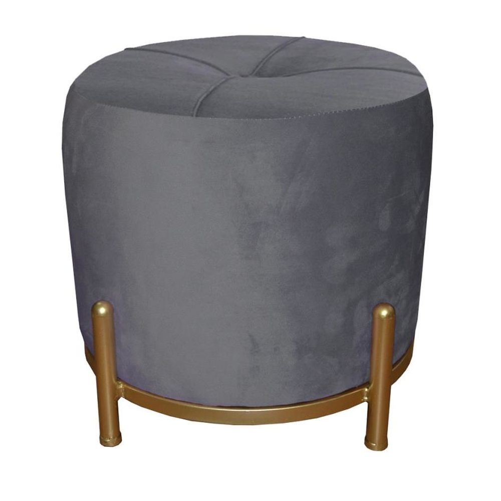 Footrest DKD Home Decor Grey Polyester Metal Golden (38 x 38 x 34 cm)
