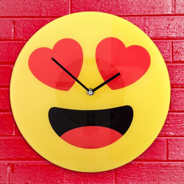 Hearts Emoticon Wall Clock