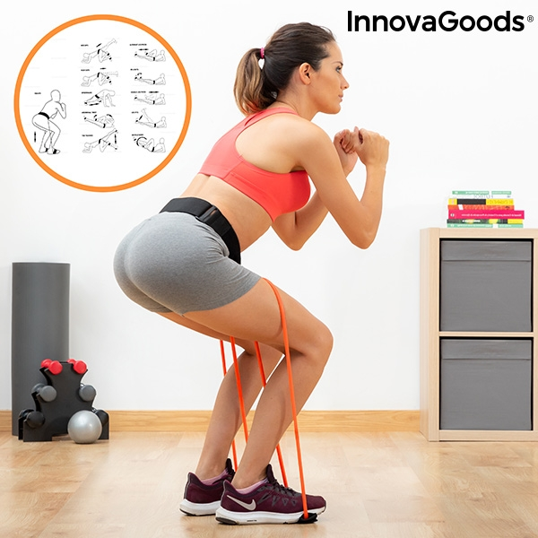 Belt with resistance bands for Glutes and Exercise Guide Bootrainer InnovaGoods