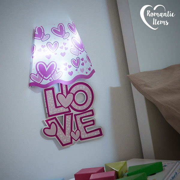 Pegatina para Pared con LED Corazones Romantic Items