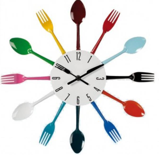 Wall Clock with Coloured Cutlery